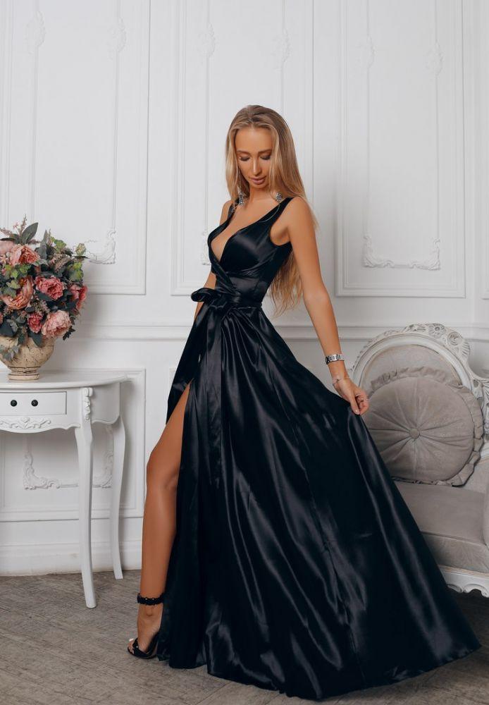 Черное Атласное Платье В Пол